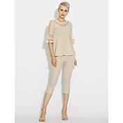 Mujer Simple Casual/Diario Primavera Blusa Pantalón Trajes,Escote Redondo Un Color Otro