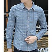 メンズ カジュアル/普段着 シャツ,ストリートファッション シャツカラー チェック コットン 長袖
