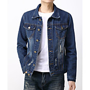 メンズ お出かけ カジュアル/普段着 秋 デニムジャケット,シンプル スタンド ソリッド レギュラー コットン 長袖