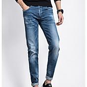 Hombre Casual Tiro Medio Microelástico Vaqueros Pantalones,Un Color Primavera Verano