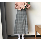 Mujer Vacaciones Midi Faldas Primavera Invierno Un Color