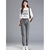 Mujer Casual Tiro Medio Rígido Chinos Pantalones,Un Color Otoño