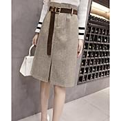 Mujer Trabajo Línea A Faldas Cuadrícula / Plaid Patterns