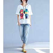 レディース デイリーウェア Tシャツ,キュート Vネック プリント コットン 半袖