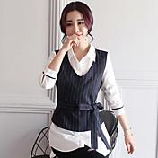 Mujer Sofisticado Casual/Diario Camisa,Cuello Camisero A Rayas Bloques Manga Larga Algodón