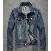 メンズ お出かけ カジュアル/普段着 秋 デニムジャケット,シンプル シャツカラー ソリッド レギュラー コットン 長袖
