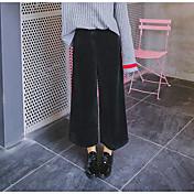 Mujer Vintage Tiro Medio Perneras anchas Pantalones,Un Color Invierno Otoño