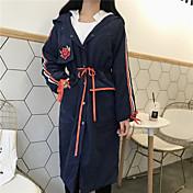 レディース カジュアル/普段着 秋 コート,ストリートファッション フード付き プリント ロング コットン その他 長袖