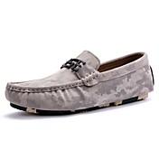 Hombre Zapatos Cuero Primavera Otoño Confort Mocasín Zapatos de taco bajo y Slip-On Para Casual Negro Gris Caqui
