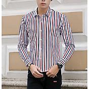 Hombre Chic de Calle Casual/Diario Camisa,Cuello Camisero A Rayas Manga Larga Algodón Poliéster