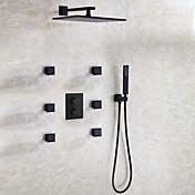 コンテンポラリー 壁式 レインシャワー サーモスタットタイプ with  セラミックバルブ 二つのハンドル9ホール for  ブラック , シャワー水栓