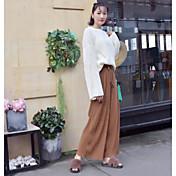 Mujer Casual Tiro Medio Rígido Perneras anchas Pantalones,Un Color Todas las Temporadas