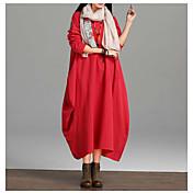 Mujer Corte Ancho Vestido Diario Casual,Un Color Escote Redondo Maxi Mangas largas Algodón Primavera Otoño Media cintura Rígido Opaco
