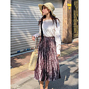 Mujer Chic de Calle Casual/Diario Midi Faldas Otoño Un Color