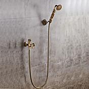 Clásico Conjunto Central Separado Válvula Cerámica Sola manija Un agujero Cobre Envejecido , Grifo de ducha