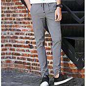 Hombre Simple Tiro Medio Microelástico Chinos Pantalones,Un Color Poliéster Otoño