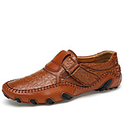 Hombre Zapatos de taco bajo y Slip-Ons Confort Suelas con luz Cuero Primavera Otoño Casual Cinta Adhesiva Tacón Plano Negro Marrón Plano