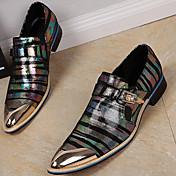 Hombre Zapatos Cuero de Napa Primavera Otoño Zapatos formales Zapatos de taco bajo y Slip-On para Casual Fiesta y Noche Dorado Negro
