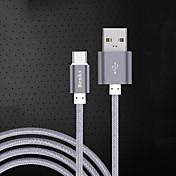 USB 2.0 Type-C Cable Cable de Carga Cable Cargador Datos y Sincronización Trenzado Cable Para Samsung Huawei Xiaomi 100 cm Nailon