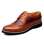 Hombre Zapatos Cuero Primavera Verano Otoño Invierno Confort zapatos Bullock Oxfords Con Cordón Para Casual Negro Marrón Amarillo