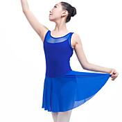 Ballet Vestidos Mujer Actuación Licra Combinación Sin mangas Cintura Media Vestido