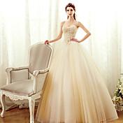 una línea sin tirantes palabra de longitud tul vestido de novia con rebordear por yuanfeishani