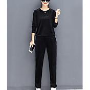 Mujer Un Color Letra y Número Deportes Casual/Diario Simple Pantalón Escote Redondo Primavera Otoño Manga Larga Algodón