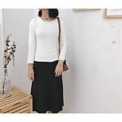 Mujer Regular Pullover Diario Activo,Un Color Escote Redondo Mangas largas Algodón japonés Primavera Otoño Opaco Microelástico