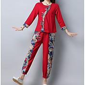 Mujer Simple Noche Invierno Conjunto Pantalón Trajes,Escote Redondo Un Color Manga Larga Poliéster
