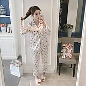 Mujer Traje Pijamas Medio Rayón Azul Piscina Blanco