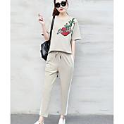 Mujer Algodón Camiseta - Floral Refranes y citas Pantalón