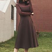 Mujer Vaina Vestido Diario Casual,Retazos Cuello Alto Midi Mangas largas Lana Invierno Otoño Alta cintura Microelástico Opaco