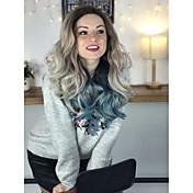 Peluca Lace Front Sintéticas Ondulado Medio Corte a capas Pelo sintético Azul Peluca Mujer Larga Encaje Frontal