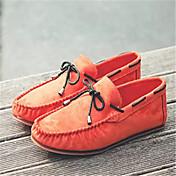 男性用 靴 スエード 春 秋 モカシン ボート用シューズ 編み上げ のために カジュアル ブラック オレンジ ダークブルー
