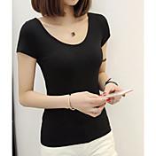 Mujer Noche Camiseta,Escote Redondo Un Color Manga Corta Algodón