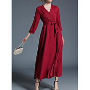 Mujer Corte Ancho Vestido Casual/Diario Simple,Un Color Escote en Pico Midi Mangas 3/4 Algodón Primavera Otoño Tiro Medio Microelástico