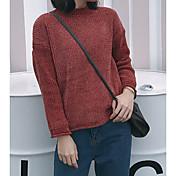 Mujer Corto Pullover Casual/Diario Simple,Un Color Escote Redondo Manga Larga Acrílico Invierno Otoño Grueso Microelástico