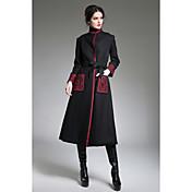 レディース 日常 冬 秋 コート,ヴィンテージ スタンド プリント レギュラー ウール 半袖 刺繍