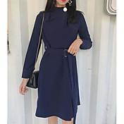 Mujer Línea A Vestido Casual/Diario Simple,Un Color Cuello Barco Sobre la rodilla Mangas largas Algodón Primavera Otoño Tiro Medio