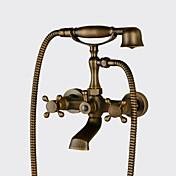 アンティーク 田園風 伝統風 壁式 ハンドシャワーは含まれている 組み合わせ式 セラミックバルブ 二つ 3つのハンドル二つの穴 アンティーク銅, 浴槽用水栓