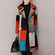 Mujer Chic de Calle Noche Invierno Otoño Regular Abrigo, Cuello Camisero Cachemira Poliéster Estampado