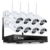 zosi® 8ch sistema de circuito cerrado de televisión inalámbrico 960p nvr 8pcs 1.3mp ir al aire libre p2p wifi sistema de vigilancia de sistema de
