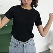 Mujer Vintage Plisado Camiseta Un Color Negro y Rojo