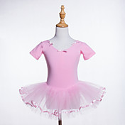 Ballet Leotardos Chica Entrenamiento / Rendimiento Algodón / POLY / Tul Lazo(s) / Volantes en Cascada Manga Corta Cintura Media Leotardo