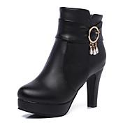 Mujer Zapatos Cuero Sintético Otoño invierno Botas de Moda Botas Tacón Cono Dedo redondo Botines / Hasta el Tobillo Hebilla Blanco / Negro / Marrón