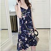Mujer Vintage / Chic de Calle Recto / Gasa Vestido - Estampado, Floral Sobre la rodilla