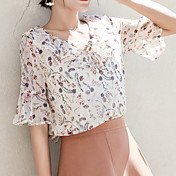 blusa de mujer - cuello redondo floral