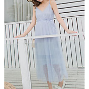 Mujer Boho Corte Swing Vestido Un Color Midi