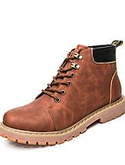 Masculino Botas Coturnos Pele Real Outono Inverno Casual Caminhada Salto Grosso Preto Café Castanho Escuro Menos de 2,5cm