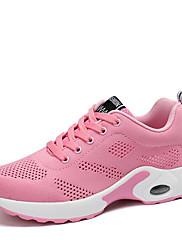 Feminino Tênis Conforto Tricô Primavera Verão Outono Casual Caminhada Salto Baixo Branco Preto Roxo Vermelho Rosa claro 2,5 a 4,5 cm